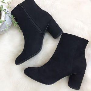 [Justfab] NEW Black Suede Heel Booties